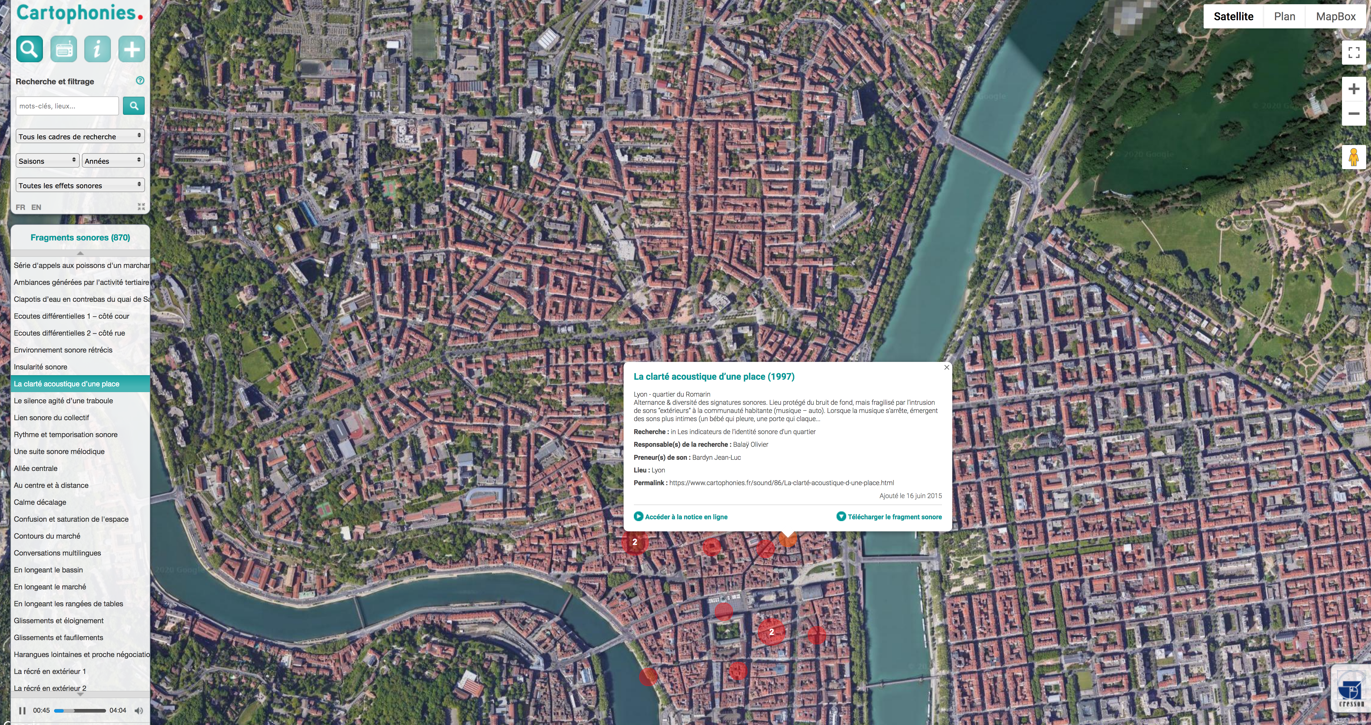 [Cartographie] [Base de données] «Cartophonies» : cartographie sonore dédiée à l'expérience sonore contemporaine