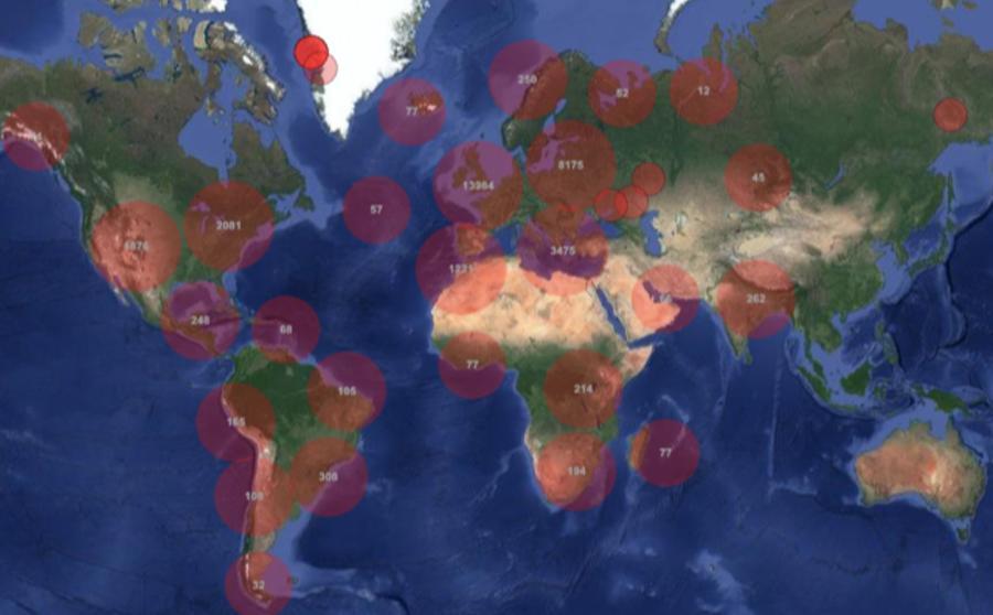 Capture d'écran de la mappemonde sonore Aporee (https://aporee.org/maps/)